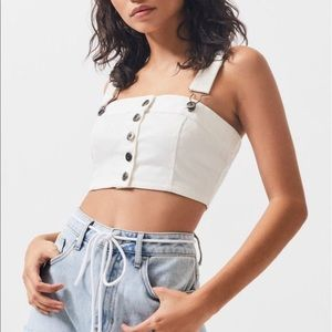 NWT Kendall & Kylie White Denim Overall Top